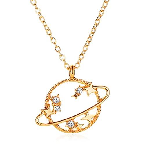 QIN Collar con Colgante de Estrella de Planeta de Universo Hueco de Cristal para Mujer, Collares de Cadena de Color Dorado y Plateado, Collar, joyería, Regalo