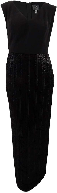 Adrianna Papell Womens Plus Velvet Metallic Evening Dress