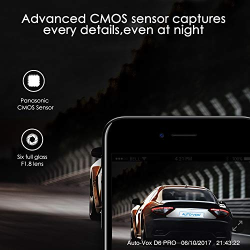 AUTO-VOX Upgraded WiFi Dash Cam D6 Pro FHD 1080P Dashboard Camera Recorder Car Dash Cam with Super Night Vision,G-Sensor,WDR,Loop Recording,300°Rotate Angle, D6PRO