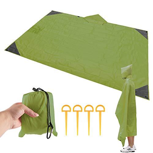 ABEDOE Strand-Picknick-Decke, Faltbare Sand-Beweis-kompakte Taschen-Decke im Freien wasserdichte Matte mit 4 Zelt-Stöcken, die Reise-kampierendes Festival und das Wandern wandern (Armee grün)