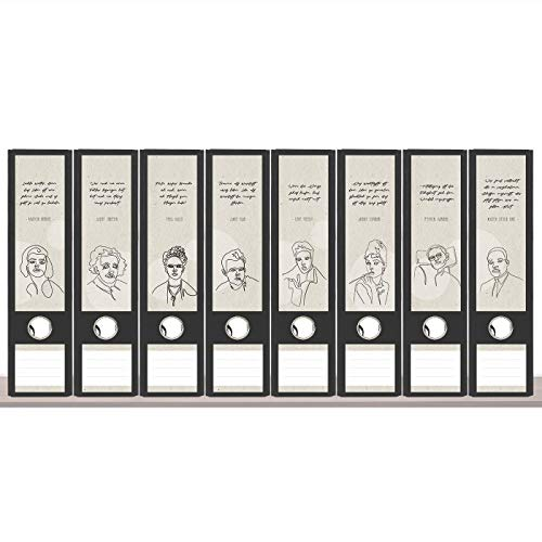sendmoments Ordneretiketten, Ikonen der Zeit, 8 breite Aufkleber für Ordnerrücken, selbstklebende Rückenschilder für breite Ordner mit zusätzlich 12 Beschriftungs-Aufklebern