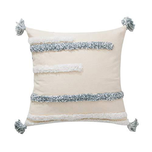MOCOFO - Funda de cojín con borla tejida de color blanco y gris con flecos para sofá o sofá, bordada bohemia de 30,5 x 45,7 cm