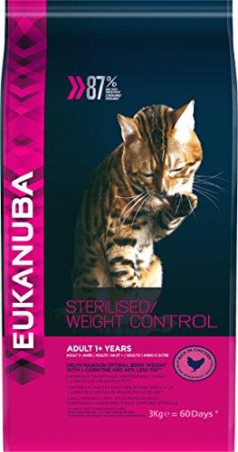 Eukanuba - Croquettes Stérilisé ou en Surpoids - pour Chat - Croquettes Recommandées par les Vétérinaires - Alimentation 100% Complète et Equilibrée - Riche en Poulet - 3kg