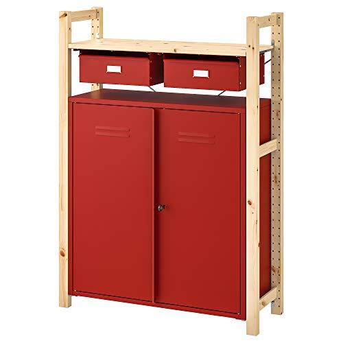 Estantería IVAR con gabinetes/cajones 89x30x124 cm pino rojo