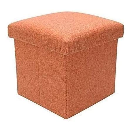 Sterling Stools for Sitting in Living Room Storage Stools for Sitting Storage Box for Toys of Kids - Orange Foldable Stool (38 x 38 x 38 cm)