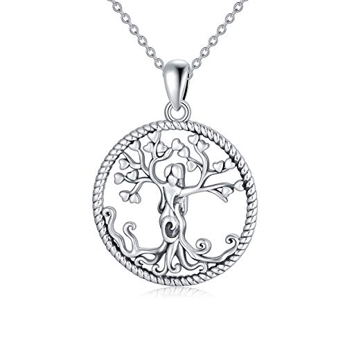 Tree of Life Necklace, Celtic Family Tree Necklaces for Women, Sterling Silver Jewelry Gift for Wife Mom Grandma Girlfriend 18+2 Inches Chain (White Gold)