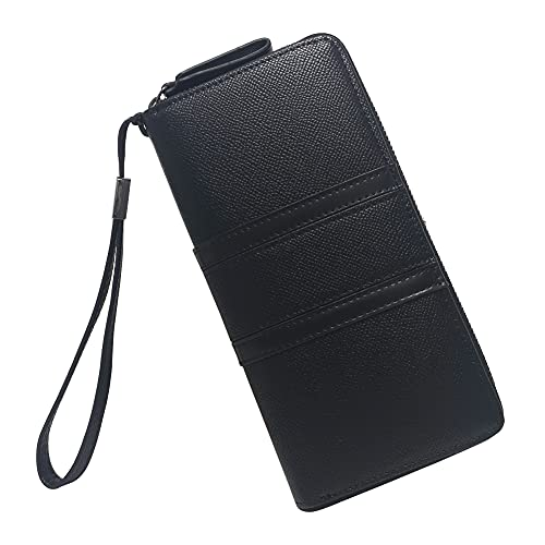 Aeeque Women's Wallet Wristlet Clutch Handbag Card Holder Purse Cell Phone Bag, Lightweight Faux Leather Zip Around Long Wallets for iPhone 12 Pro Max 11 Plus/Samsung Galaxy S21+ Note 20 Ultra, Black