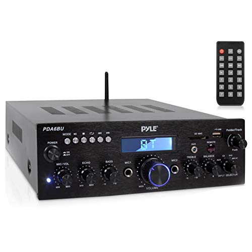 Pyle Wireless Bluetooth Power Amplifier System - 200W Dual Channel Sound Audio Stereo Receiver w/ USB, SD, AUX, MIC IN w/ Echo, Radio, LCD - Home Theater Entertainment via RCA, - PDA6BU
