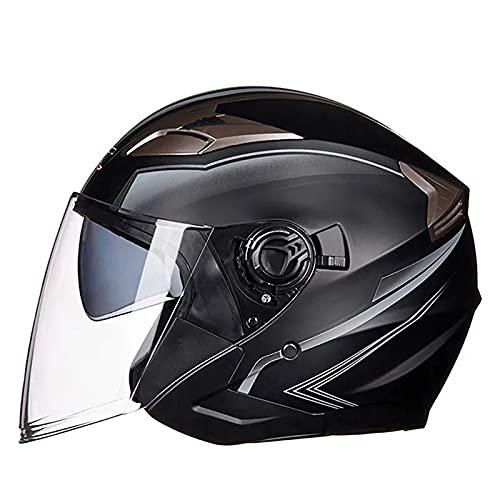 LSRRYD Casco de Moto Medio Abierto con Gafas Visor semiabierto Cuero Casco de Motociclista para Scooter ciclomotor bicicl Touring Adultos (Color : Matte Black Gray, Size : Large)