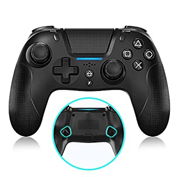 NexiGo Q500 PS4 Controller with Back Buttons Turbo Dual Vibration Gyro Axis Bluetooth Programmable Buttons Built-in Speaker for Playstation 4 / iOS14 / Android/PC Black