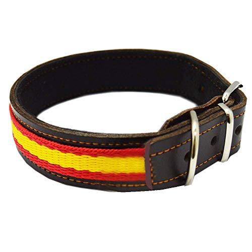 Tiendas LGP - Collar para Perros de Piel Flor con Bandera de España. 2,5 x 57 cm, Marrón