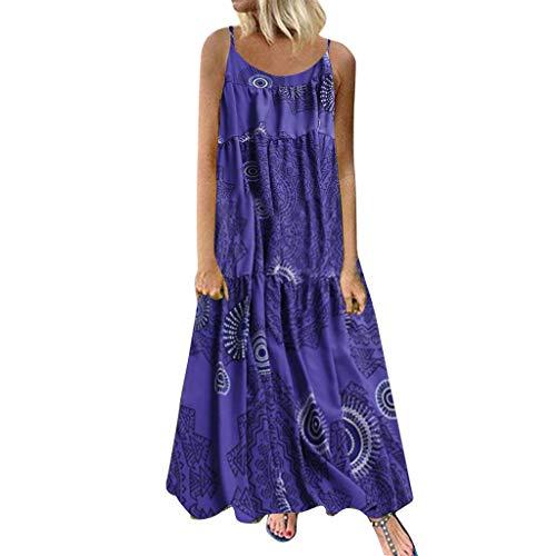 COZOCO Mujer Verano De Playa Vestido De Verano Vestido Verano Mujer Camiseta AlgodóN Casual Tallas Grandes Vestido De Tallas Grandes De Playa(Azul,EU-48/CN-5XL)