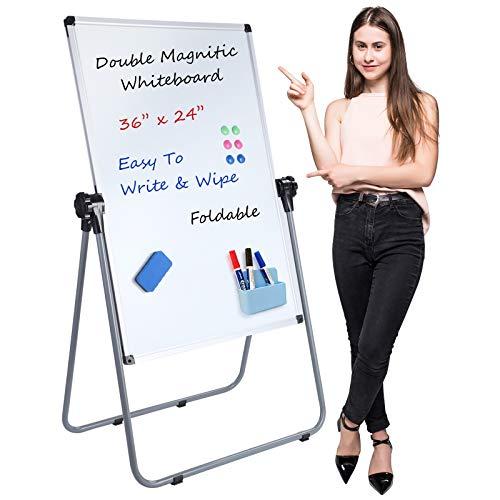 Pizarra blanca con soporte de doble cara, pizarra magnética de borrado en seco, altura ajustable con marco de aluminio resistente para...