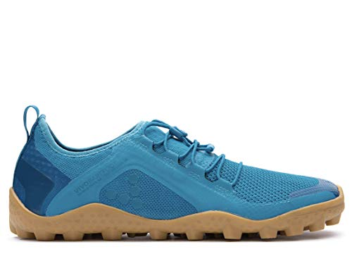 Vivobarefoot Primus Trail Sg, Mens Recycled Breathable Mesh Off-Road Shoe with Barefoot Soft Ground Sole Blue