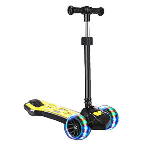 Scooter 3-Rad for Kinder, Einstellbare Höhe Premium mit Anti-Rutsch-Deck Flashing Räder Lean for Kleinkind Mädchen Jungen 2-12Year Steer (Color : Yellow)