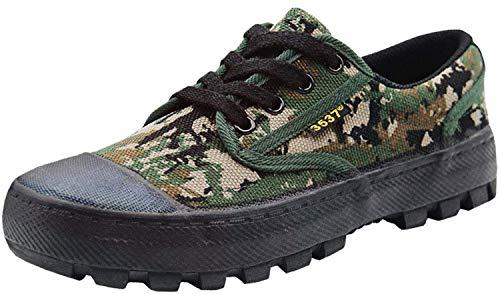 ZUSERIS Zapatos de Senderismo Hombres Mujeres Transpirable Caminar Zapatos para Correr Outdoor Antideslizante Zapatillas Verde Camuflaje 37 EU