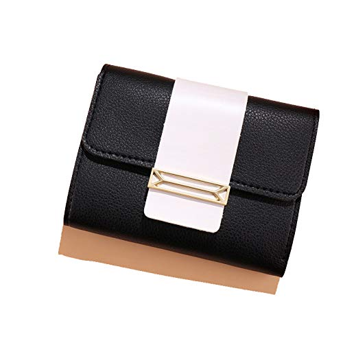 Buy and buy at Brandon Autumn and Winter Wallet Women Short Color Contrast Small Fresh Three Fold Wallet Ladies Student Small Coin PurseBlackA