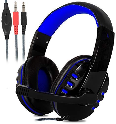 Headset Gamer Estéreo Super Bass Hd com Microfone para Pc Notebook Mac (Azul)
