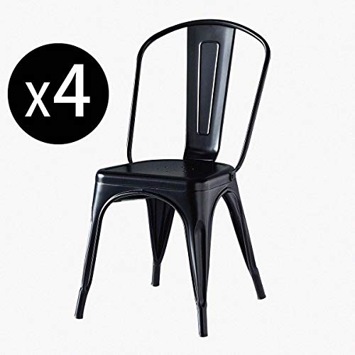 Zoyo Metal Dining Chairs Set of 4 Garden Chairs Industrial Indoor Outdoor Stackable Kitchen Tolix Chair for Café Bistro Restaurant Wedding (Black, 4)