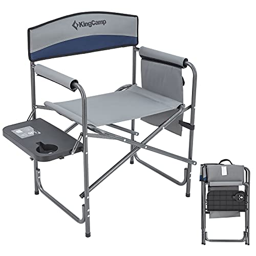 KingCamp Heavy Duty Camping Folding Director Chair Oversize Padded Seat with Side Table and Side Pockets, Supports to 396 lbs (Grey)