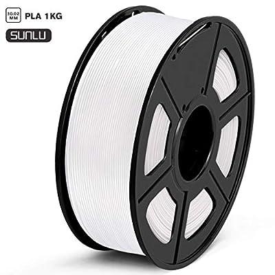 SUNLU PLA Filament 1.75mm 3D Printer Filament PLA 1kg Spool (2.2lbs), Dimensional Accuracy of +/- 0.02mm PLA White