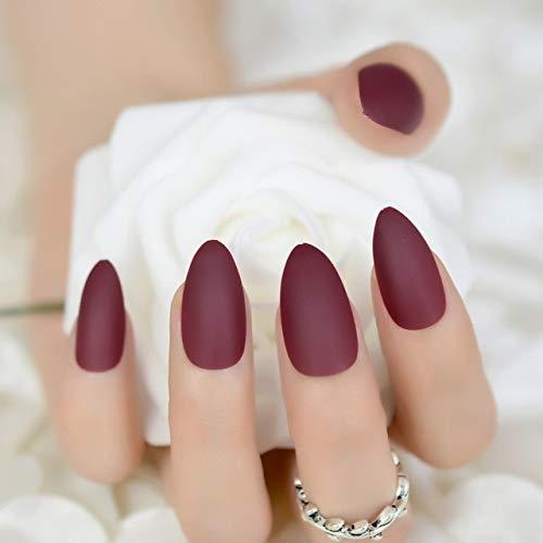 DKHF Valse nagels Mat donkere Bluefake nagels ovale amandel puntige berijpte volledige dekking Punk stijl Druk op valse slijtage nagel