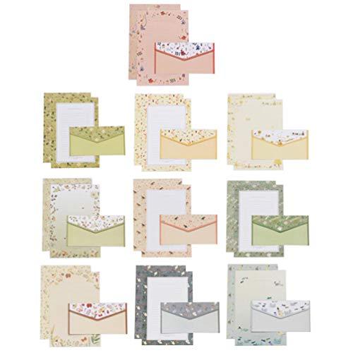 TINKSKY 10セット レターセット 手紙 花柄 A5 便箋 封筒 セット お礼 人気 お祝い 60枚 便箋 30枚封筒 (混合)