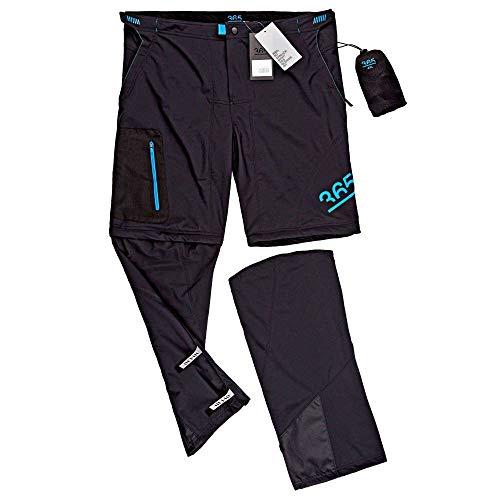 RENNER XXL Elastische Zip-Off Radlerhose mit Unterhose & Sitzpolster, Schwarz, XL
