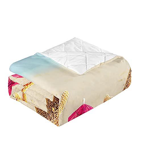 Oduo Colcha Bouti Cama de Verano, Microfibra Cubrecama Multiusos Suave para Cama de Matrimonio, Lavable Acolchada Edredón Ligero Manta para Todas Las Estaciones (Estrella de mar,220x240cm)