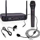 PYLE Lavalier, Headset Mics, Transmitter, Receiver-for PA, Karaoke Dj Party, Black, One Size (PDWM2140)