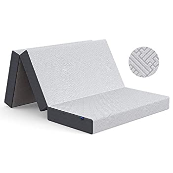 Inofia Folding Mattress Queen 5-Inch Tri-fold Memory Foam Mattress Foldable Mattress with Non-Slip Bottom Portable Tri Folding Floor Bed for Guest Camping Play Reading Road Trip