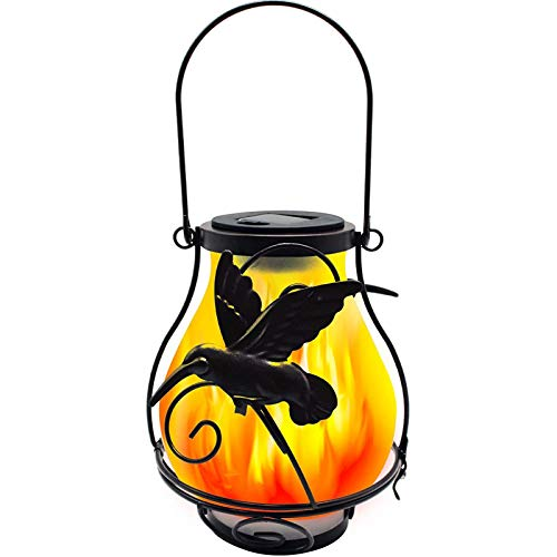 EAHKGmh Outdoor Solar Flickering Flame Lights Metal Solar Lanterns Hanging Waterproof Landscape Decoration Lighting for Garden Pathway Patio Tabletop (Color : Hummingbird)