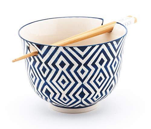 Happy Sales Ramen Udong Noodle Soup Cereal Bowl w/Chopsticks (Henna)