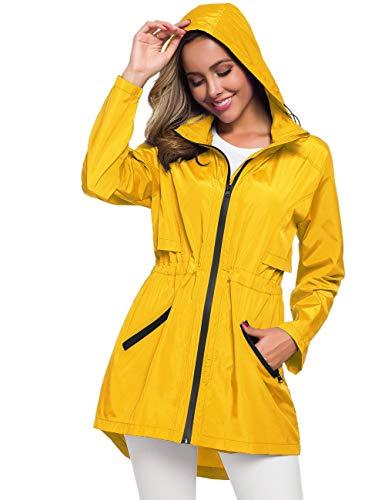 Womens Jackets Lightweight Casual Yellow Waterproof Jacket Rain Slicker Y M