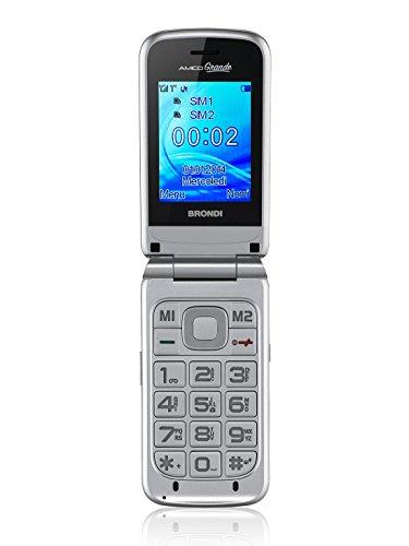 Brondi Amico Grande, Telefono cellulare GSM per anziani con tasti grandi, tasto SOS e funzione da remoto, dual SIM, volume alto, Argento
