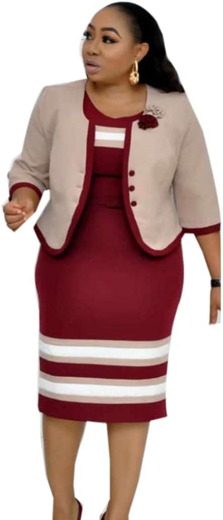 Plus Size Suit for Women Three Quarter Sleeve Round Neck Knitting Dress+Coat Office Work Lady Elegant Bodycon Set-RED_50