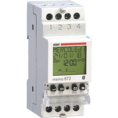 Vemer 1 VE767700 MEMO BT2 Interruptor configurable de Tiempo/astronómico con Interfaz Bluetooth da Barra DIN 230Vac, 2 Canal, 230 V