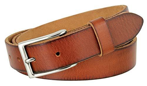 """Men's Belts Full Grain Genuine Leather One Piece Casual Dress Belt 1-1/8"""" (30mm) wide (Tan-Silver, 36)"""