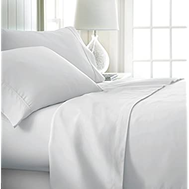 Beckham Luxury Linens ienjoy Home Hotel Collection Luxury Soft Brushed Bed Sheet Set, Hypoallergenic, Deep Pocket, King, White