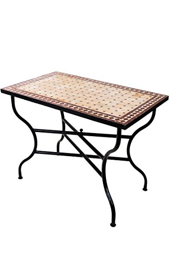 ORIGINAL Marokkanischer Mosaiktisch Gartentisch 100x60cm Groß eckig klappbar | Eckiger klappbarer Mosaik Esstisch Mediterran | als Klapptisch für Balkon oder Garten | Marrakesch Natur Bordeaux 100x60cm