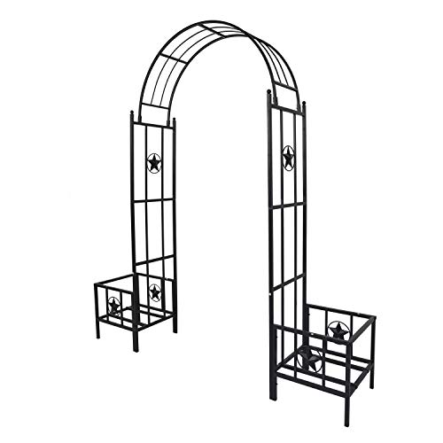 Peachtree Press Inc Outdoor Metal Garden Arbor 7'5''H x6'7''W Arch Trellis with Planters Arbour Plant Climbing Support for Rose Vines, Plant Lawn Backyard
