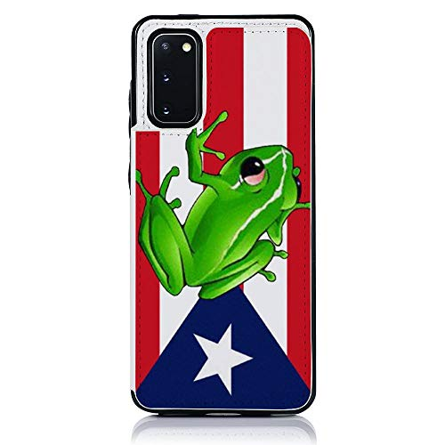 Puerto Rico Flag Frog Samsung Galaxy S20 Wallet Case TPU Leather Folio Stand Case with Card Slots Magnetic Closure Wallet Case for Samsung Galaxy S20