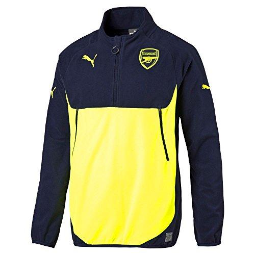 PUMA Mens Arsenal 1/4 Zip Training Top Small, Peacoat/Safety Yellow