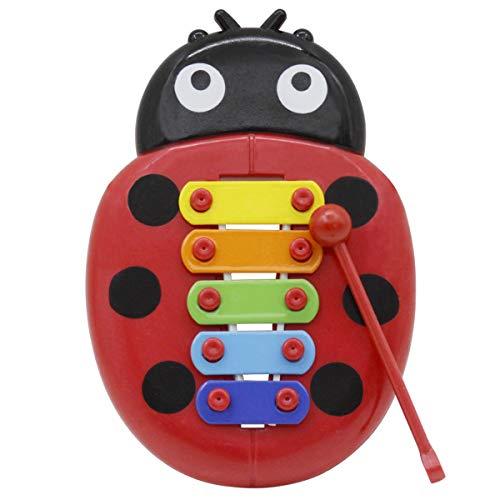 SUPVOX Kinder Xylophon Percussion Musikinstrument Spielzeug mit 5 Tönen Baby Glockenspiel Marienkäfer geformt