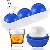 Round Ice Cube Mold Star Wars Death Star Silicone Ice Molds for Whiskey Bourbon Cocktails Chocolate (3 Pack + 1 Tray)