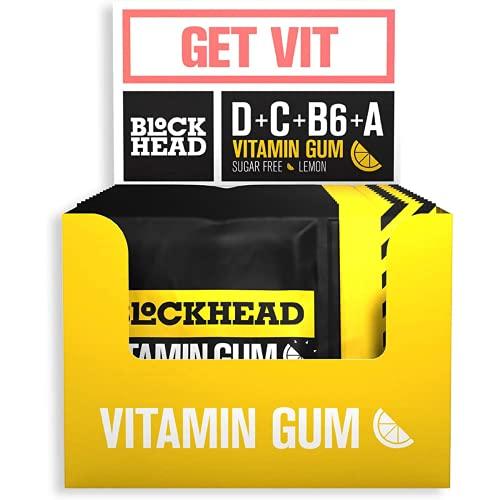 Blockhead Lemon Multivitamin Gum | 2 Pieces = 100% RDA of Vitamin D, C, B6, A | More Fun Than Vitamin Tablets | Contains Xylitol for Healthy Teeth | Sugar-Free | Calorie-Free (120 Pieces)