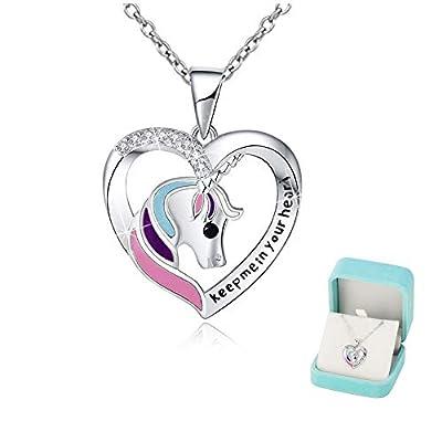 Collar de unicornio Chicas Corazón Joyería de plata 'Keep me in your heart' Colgantes Brillante circón Regalo unicornio para mujeres Adolescente los niños Navidad Acción de gracias Regalo
