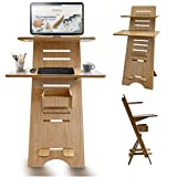Modern Height Adjustable Sit to Stand Up Desk. Large Wood Desk Spaces That Easily Adjust for...