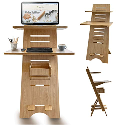 stand tables Modern Height Adjustable 2 Tier Desk for Small Spaces - Compact Narrow 30 inch Wide Sit to Stand Up Desk - 2 Tier Desk for Small Spaces - Easy Adjustable Standing Desk for Study, Bedroom & Home Office