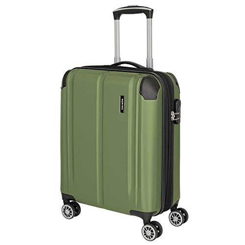 Travelite 4-Rad Handgepäck Koffer mit Dehnfalte erfüllt IATA Bordgepäckmaß, Gepäck Serie CITY: Robuster Hartschalen Trolley mit kratzfester Oberfläche, 073044-80, 55 cm, 40 Liter, grün